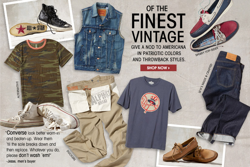 OF THE FINEST VINTAGE. GIVE A NOD TO AMERICANA IN PATRIOTIC COLORS AND THROWBACK STYLES. SHOP NOW