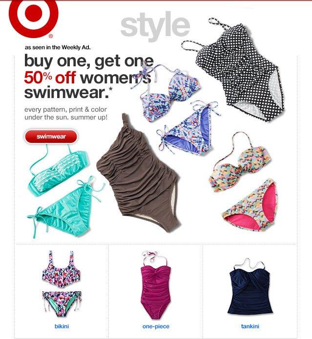 buy one, get one 50% off women's swimwear.*