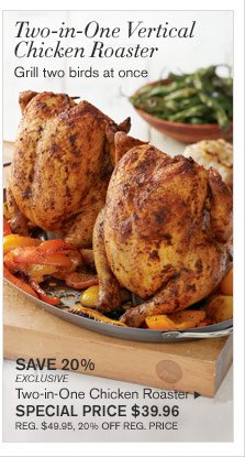 TWO-IN-ONE VERTICAL CHICKEN ROASTER - Grill two birds at once - SAVE 20% - EXCLUSIVE - Two-in-One Chicken Roaster - SPECIAL Price $39.96 (REG. $49.95, 20% OFF REG. PRICE)