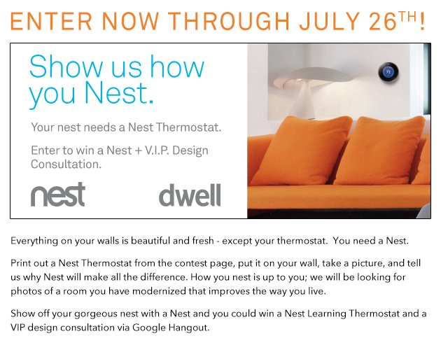 Enter to win! Show us how you Nest. http://new.dwell.com/contests/nest