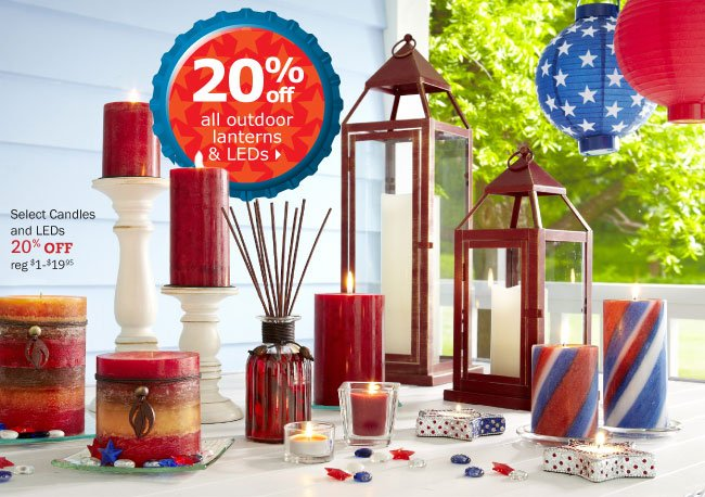 20% off all outdoor lanterns & LEDs