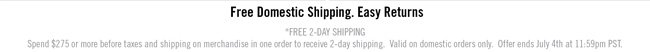 Free Domestic Shipping & Easy Returns