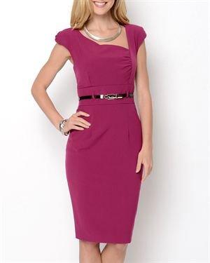 Taylor Avedon Asymmetrical Neckline Belted Dress