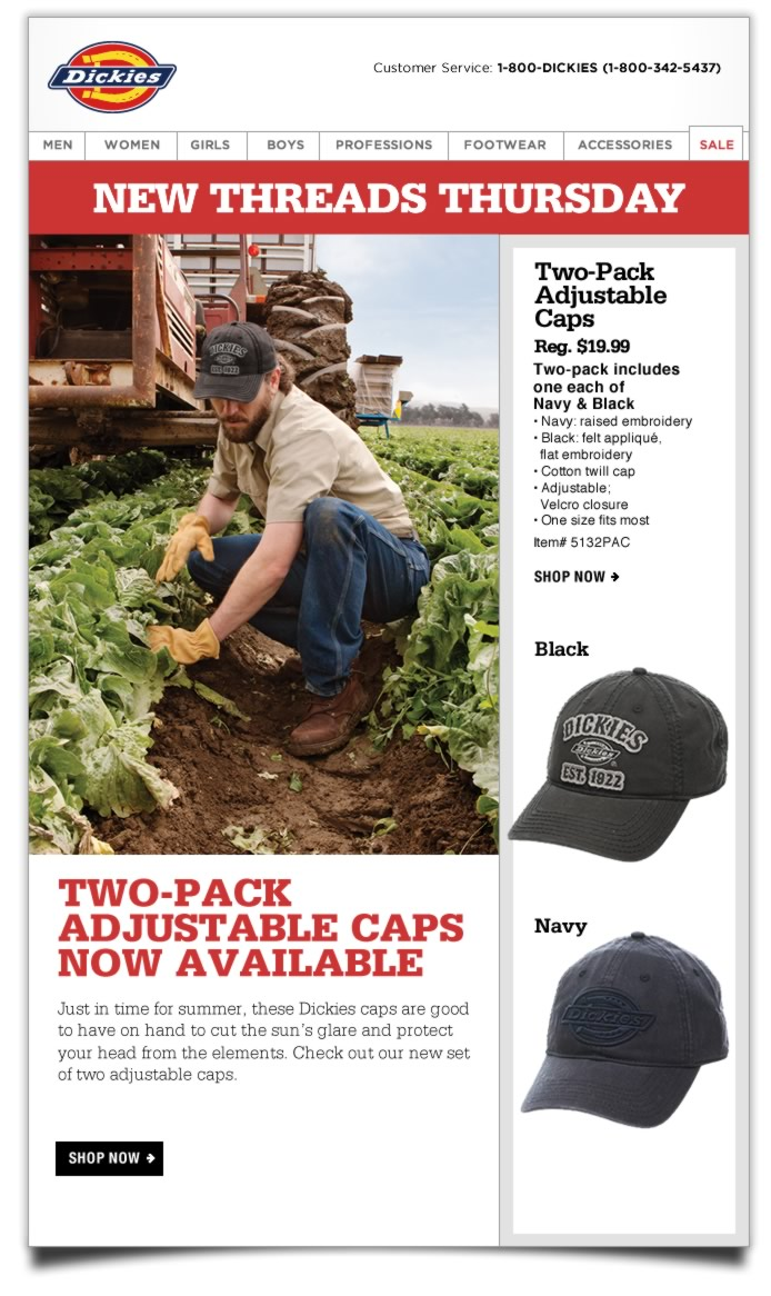 New Threads Thursday: Two-Pack Adjustable Caps. Just in time for summer, these Dickies caps are good to have on hand to cut the sun's glare and protect your head from the elements. Check out our new, set of two adjustable caps.