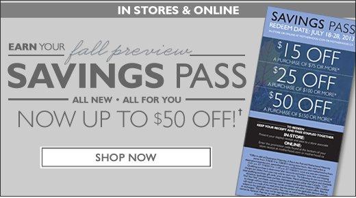 Fall Savings Pass