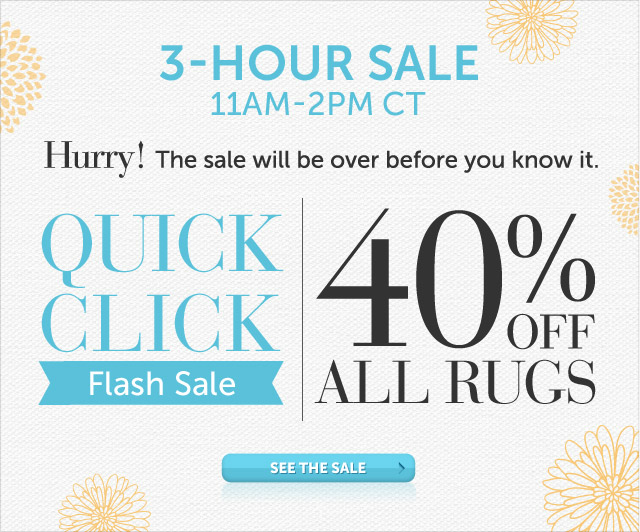 Today Only - 11am-2pm CT - Hurry! The sale will be over before you know it - Quick Click Flash Sale - 40% OFF all Rugs