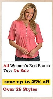Womens Red Ranch Tops on Sale