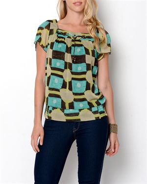 Zac & Rachel Printed Short Sleeve Blouse