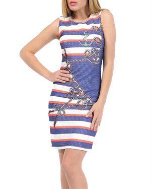 Via Bellucci Tri-Tone Marine Dress Made in Europe