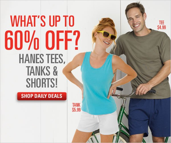 Daily Deals: Up to 60% off Tees, Tanks & Shorts