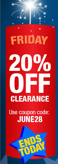 This Friday only. 20% off clearnce with coupon code: JUNE28