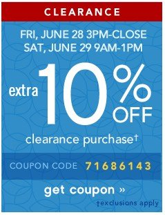 Extra 10% off Clearance. Get coupon.