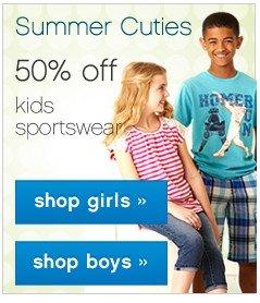 Summer Cuties 50% off kids sportswear.