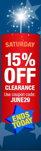 This Saturday only. 15% off clearnce with coupon code: JUNE29