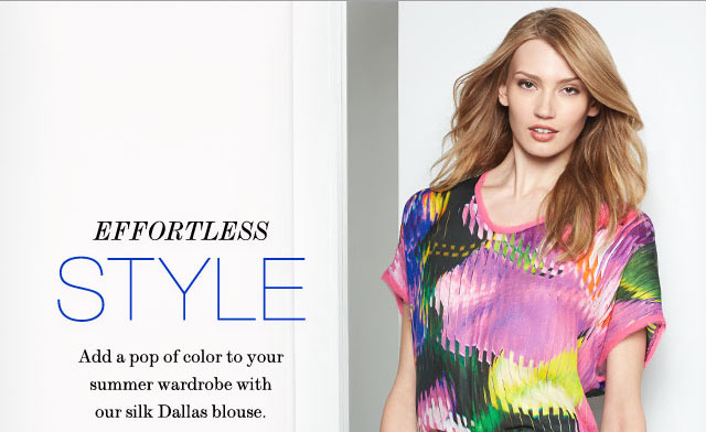 Effortless Style, Add a pop of color to your summer wardrobe with our silk Dallas Blouse.