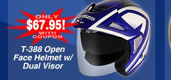 T-388 Dual Visor Open Face Helmet - Only 67.95 after Coupon!