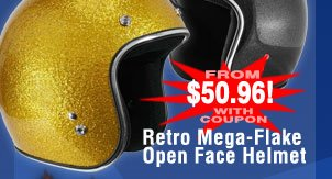 Retro Mega-Flake Open Face Helmet - from $50.96 after Coupon!