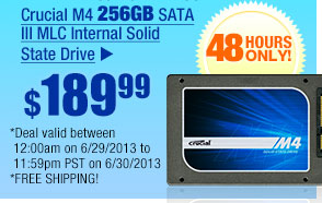 $189.99 -- Crucial M4 256GB SATA III MLC Internal Solid State Drive