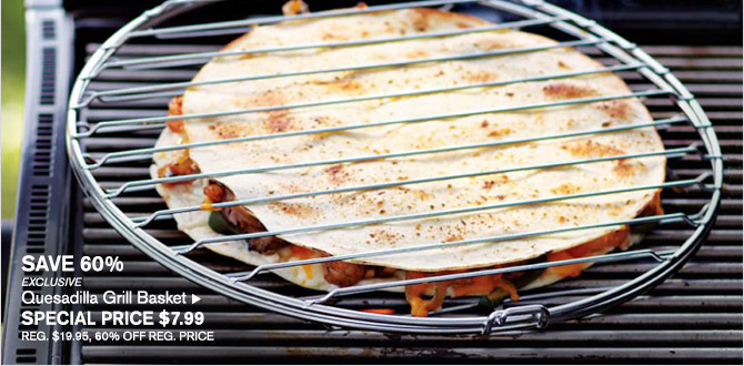 SAVE 60% -- EXCLUSIVE -- Quesadilla Grill Basket, SPECIAL PRICE $7.99 -- REG. $19.95, 60% OFF REG. PRICE