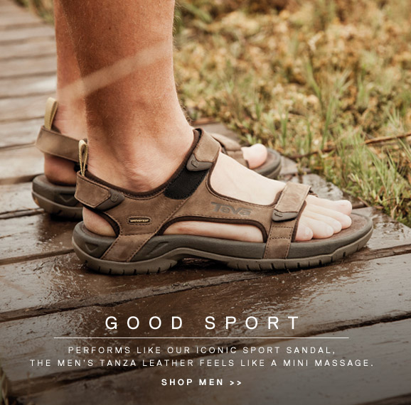 GOOD SPORT - PERFORMS LIKE OUR ICONIC SPORT SANDAL, TANZA LEATHER FEELS LIKE A MINI MASSAGE. SHOP MEN