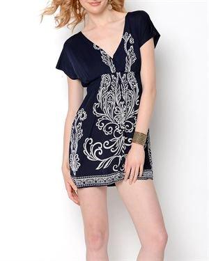 Second Skin Beaded Print Dress