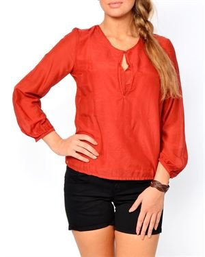 Eccentrica Solid Color Keyhole Embellished Blouse Made In Italy