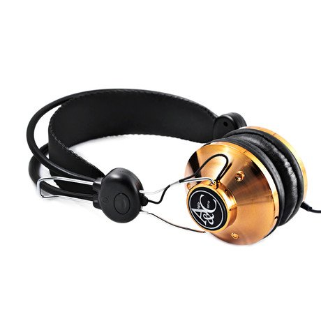 Angle + Curve Classic Headphone with Mic // Gold