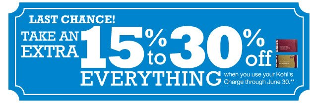 LAST CHANCE! Take an EXTRA 15% to 30% Off everything when you use your Kohl's Charge through June 30.