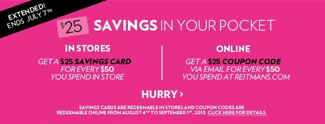 SAVINGS IN YOUR POCKET. Ends July 7th!