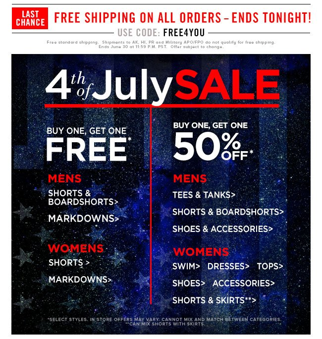 Last Chance 4th of July Sale