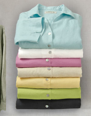 Women's Shoreline Linen Three-Quarter-Sleeved Shirt