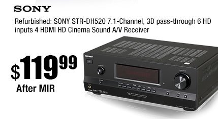 Refurbished: SONY STR-DH520 7.1-Channel, 3D pass-through 6 HD inputs 4 HDMI HD Cinema Sound A/V Receiver