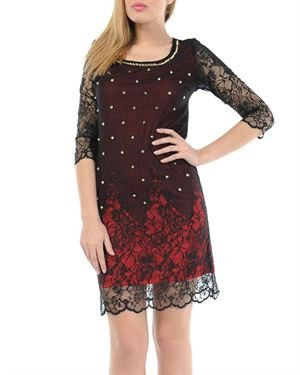 Via Bellucci Spike Embellished Sheer Lace Overlay Dress Made In Europe