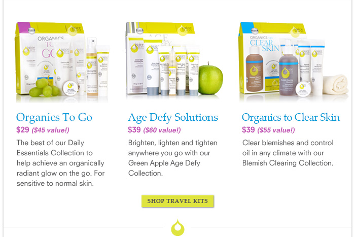 Organics To Go, Age Defy Solutions and Organics To Clear Skin
