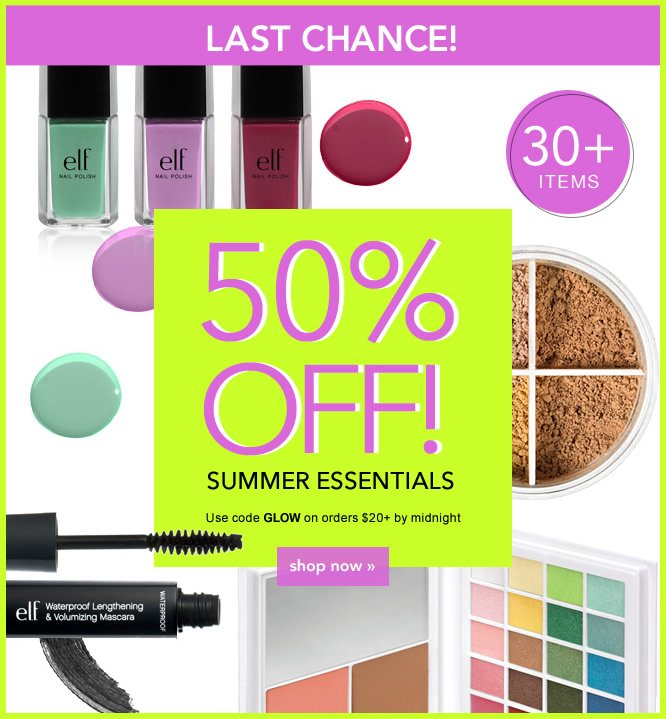 50% off Summer Essentials. Code: GLOW - shop now