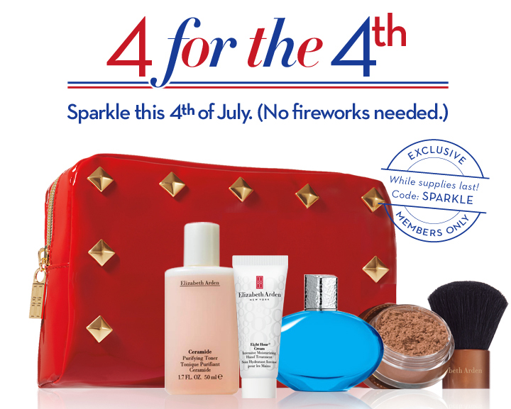 4 for the 4th. Sparkle this 4th of July. (No fireworks needed.) EXCLUSIVE. While supplies last! Code: SPARKLE. MEMBERS ONLY.