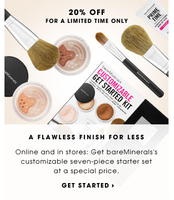A Flawless Finish For Less. Online and in stores: Get bareMinerals's customizable seven-piece starter set for at a special price. 20% off for a limited time only. Get started