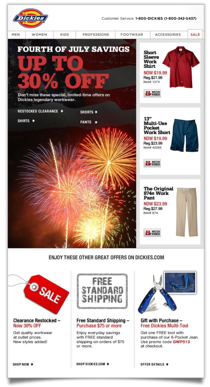 FOURTH OF JULY SAVINGS - UP TO 30% OFF. Don't miss these special, limited-time offers on Dickies legendary workwear.