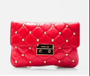 Michael Kors Sloan Quilted Genuine Leather Stud Clutch