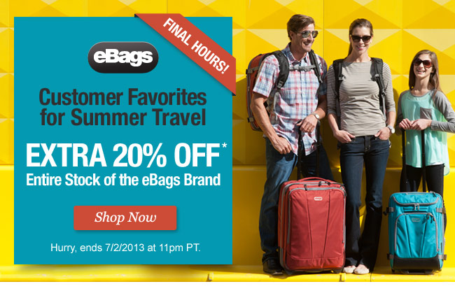 Extra 25% Off Entire Stock of the eBags Brand. Shop Now.