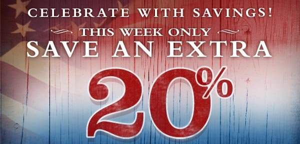 Celebrate with savings! This week only save an EXTRA 20% on everyting in the Sale Outlet!