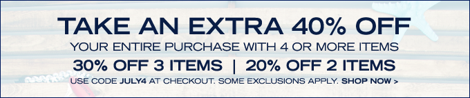 Take 40% off your entire purchase with 4 or more items! Shop now.