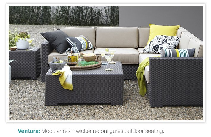 Ventura: Modular resin wicker reconfigures  outdoor seating.