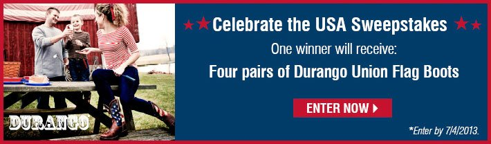 Celebrate The USA Sweepstakes - One Winner will receive: Four(4) pairs of Durango Union Flag Boots - Enter by 7/4/2013