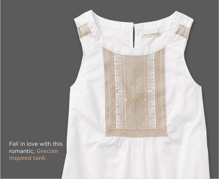 Fall in love with this romantic, Grecian inspired tank.