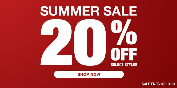 Shop our Summer Sale - 20% off Selected Styles - Hero