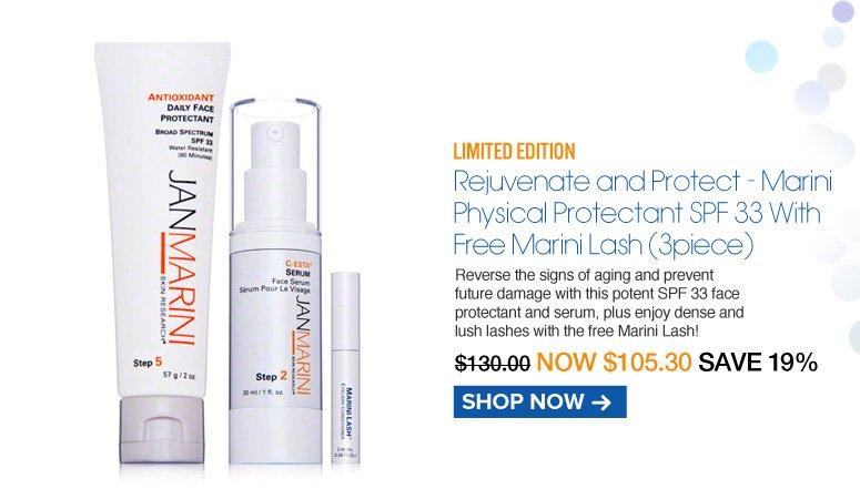 Rejuvenate and Protect - Daily Face Protectant SPF 33 With Free Marini Lash Reverse the signs of aging and prevent future damage with this potent SPF 33 face protectant and serum, plus enjoy dense and lush lashes with the free Marini Lash!  Retail $130.00 Now $105.30 Shop Now>>