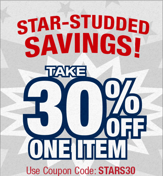 Star Studded Savings. Take 30% off one item with coupon code: STARS30