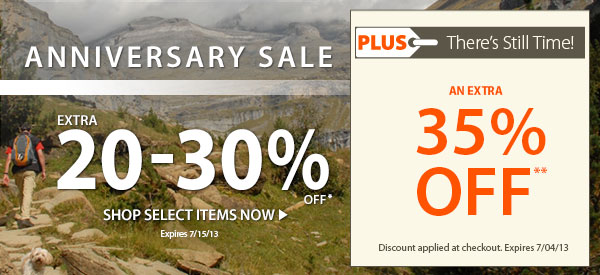 Anniversary Sale! An Extra 20-30% OFF Select Items! PLUS There's Still Time! An Extra 35% OFF!