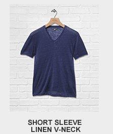 Short Sleeve Linen V-neck